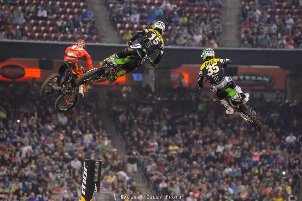 The Monster Energy Pro Circuit Kawasaki duo of Dean Wilson and Justin Hill were ready to challenge Anderson, but then Hill went down. Wilson made a few runs and then got within striking distance on the last lap. Photo: Cudby