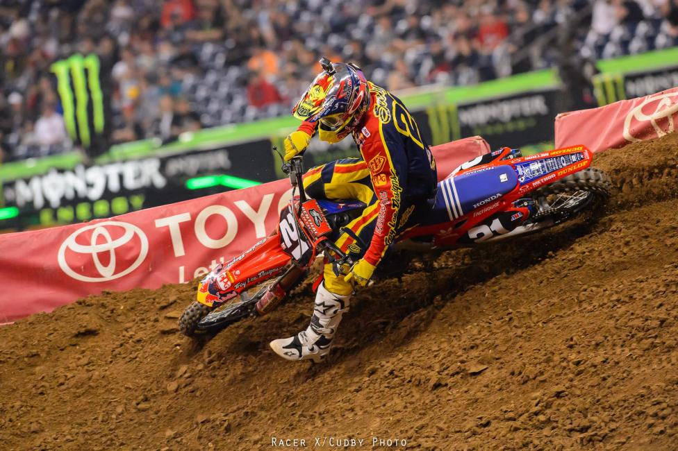 Bummer for title contender Cole Seely. He was buried off the start but made a bunch of slick moves on the first lap to move up. Somewhere through that, though, he tangled with a rider and broke something in his rear brake. That stalled his progress and he took fourth.