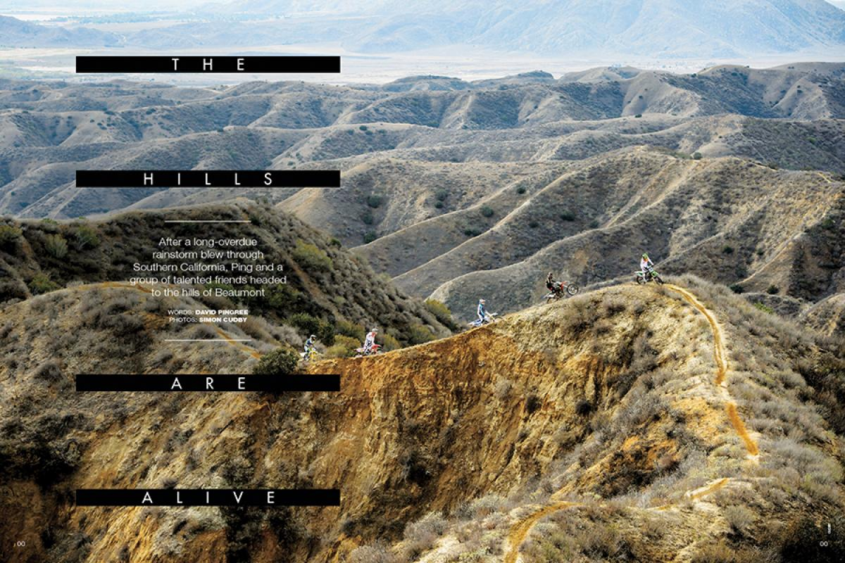 After Southern California got a welcome break from a long drought in early March, Ping and company hit the hills of Beaumont for an early springtime freeriding session. Page 148.