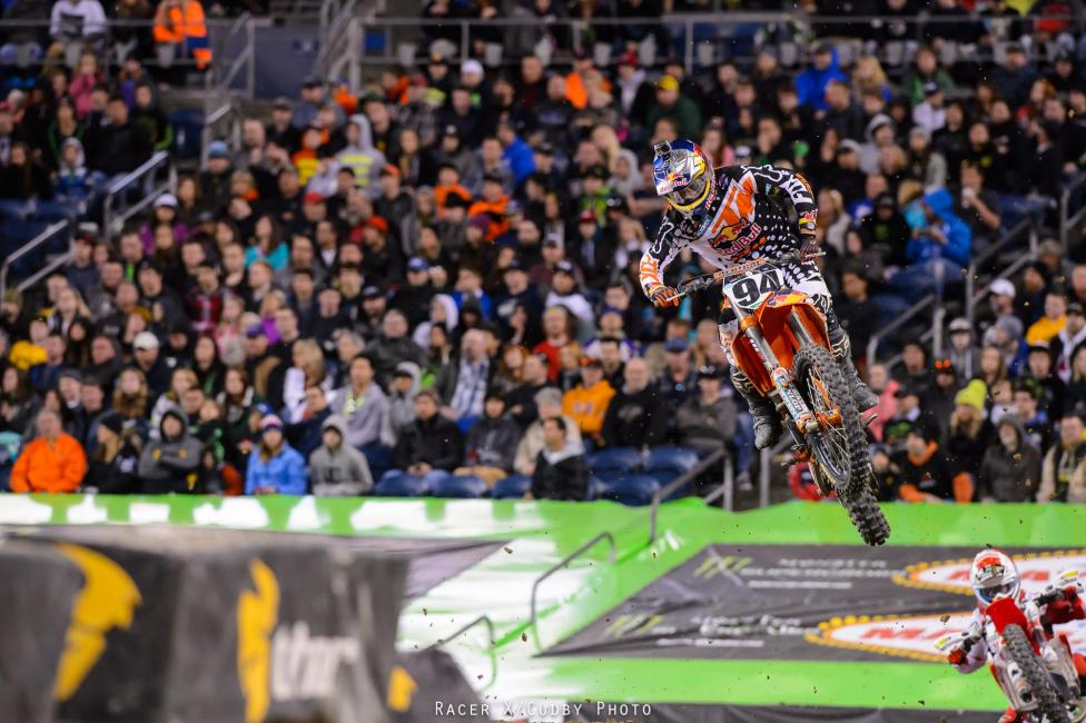 Roczen—who fell back to ninth earlier in the race—pulled up behind Short but was unable to find a line around the 450SX veteran. Roczen eventually passed Short, but not before Trey Canard made fairly quick work of both of the KTM riders for sixth.Photo: Cudby