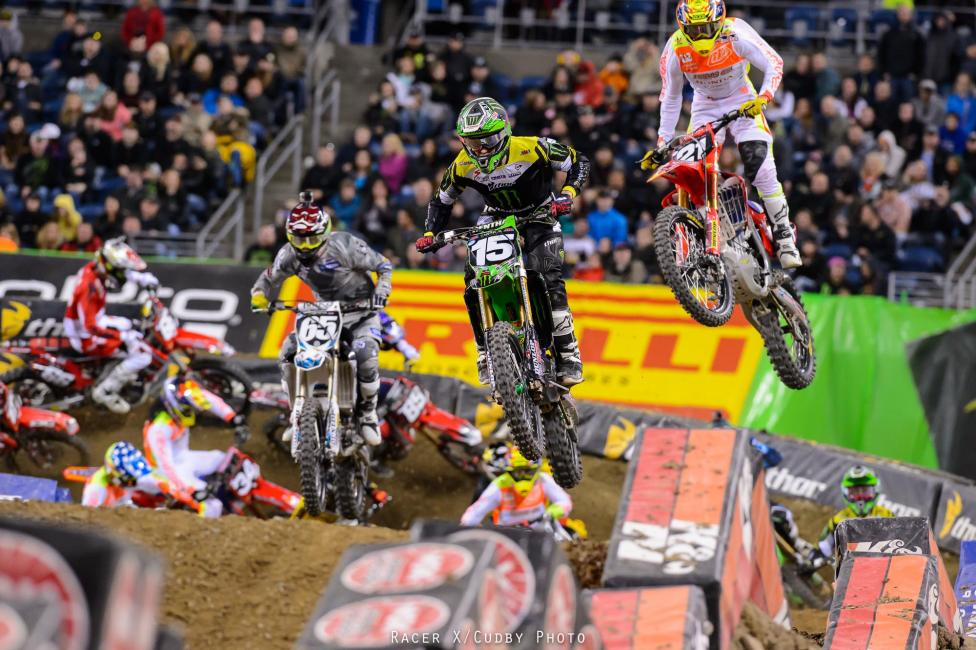 Another Kawasaki rider grabbed the holeshot in the 250SX main event. Monster Energy/Pro Circuit Kawasaki's Dean Wilson led through the first turn and most of the opening lap before succumbing to eventual race winner Cole Seely.Photo: Cudby