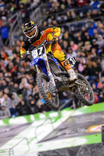 Cooper Webb was up there early in the 250s but a small crash dropped him back to seventh.
