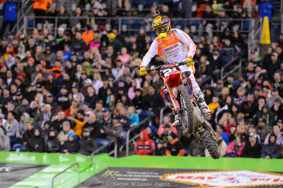 Cole Seely stayed in the 250SX title hunt with a win Saturday. Photo: Simon Cudby