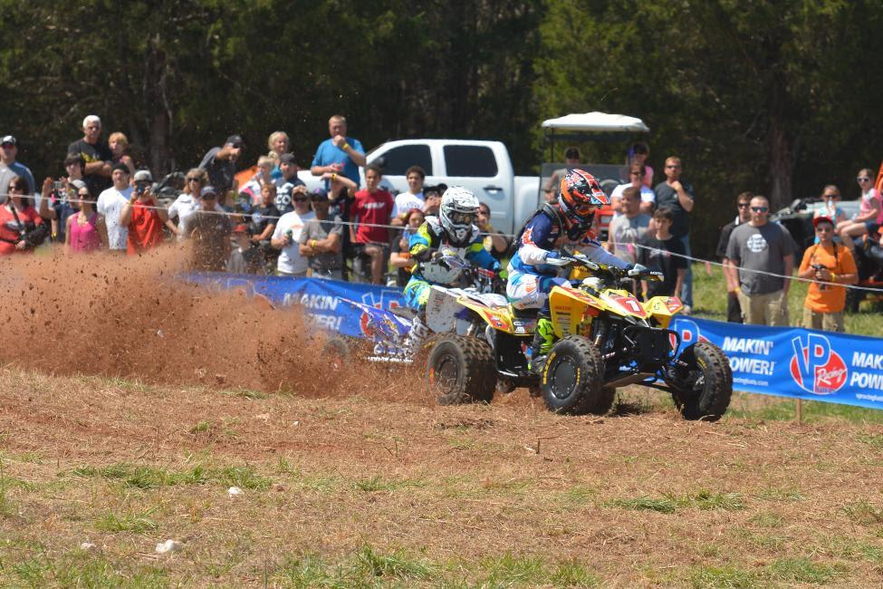 Chris Borich leads in GNCC ATV.Photo: Ken Hill
