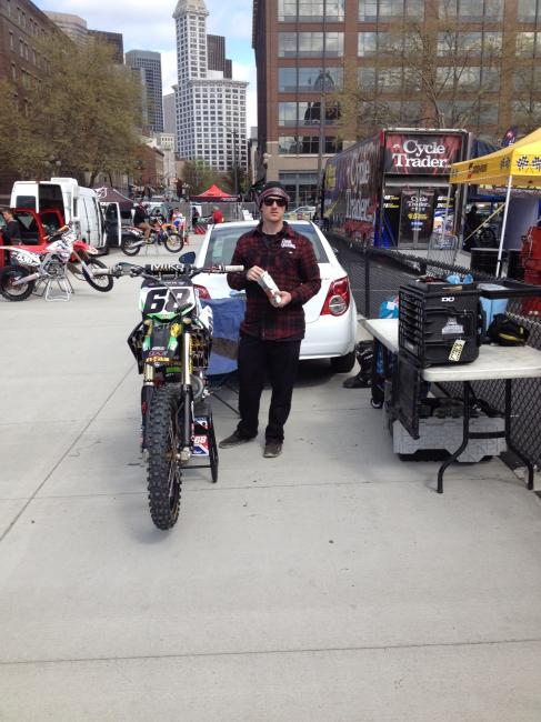The Chris Blose pit setup in Seattle, and yes the Chevy Sonic rental car is his weekend rig.