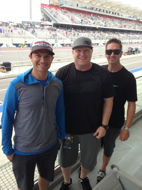 Chad Reed, Dan Truman and Michael Byrne in front of the main straight.