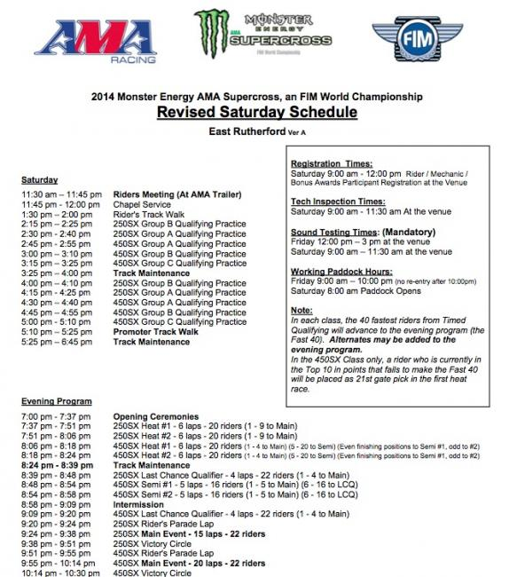 Revised schedule for East Rutherford.Photo: AMA