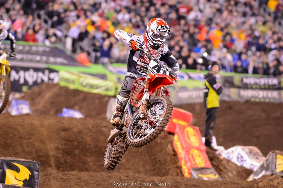Trey Canard rode better than his 9th place result will tell you. He won his heat after a spectacular battle with James Stewart, but went down on lap one of the main event.