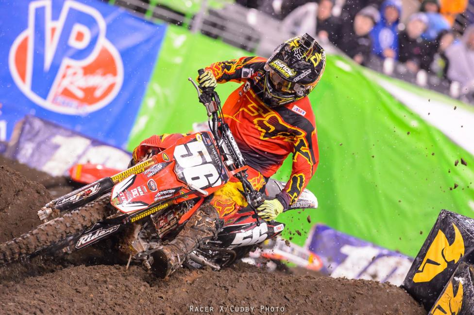 Why was the track wet? Because Jimmy Decotis won his heat and holeshot the main, so the fans blew the roof off of the place. If he had won, they would have burned the place down. And can you imagine if SX returned to Boston?