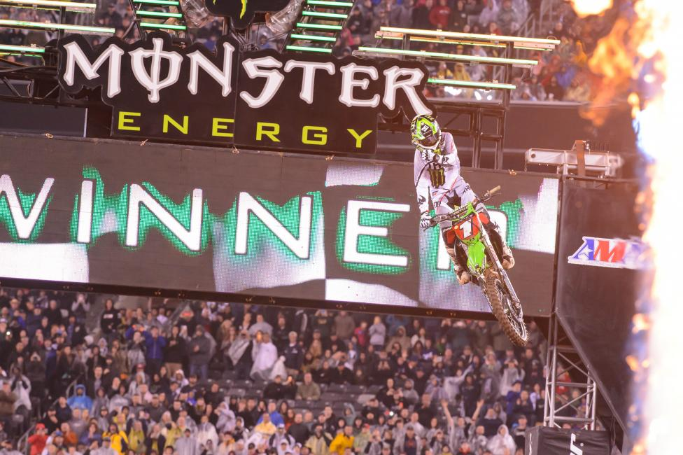 Ryan Villopoto won in East Rutherford to capture his fourth 450SX championship. Photo: Simon Cudby