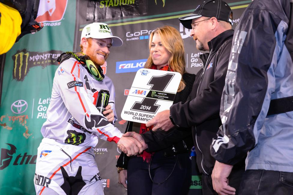 RV getting another plate from the AMA's Kevin Crowther.Photo: Cudby