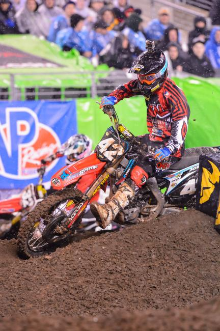 In a crazy 250SX East season, Vince Friese has got a shot at third in points.  Photo: Cudby
