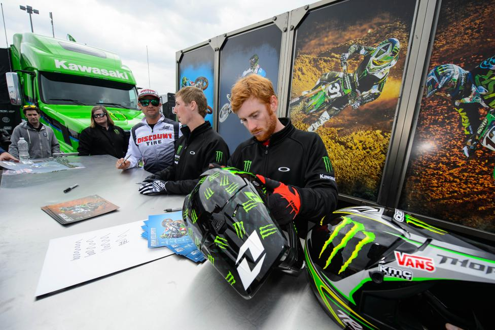 He might not always look like he loves it, but Villopoto shows up for all of his obligations.Photo: Simon Cudby
