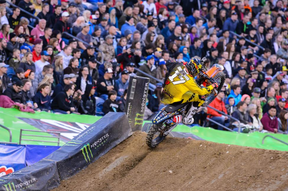 Jason Anderson can lock in his first career 250SX title in Vegas tonight.  Photo: Simon Cudby