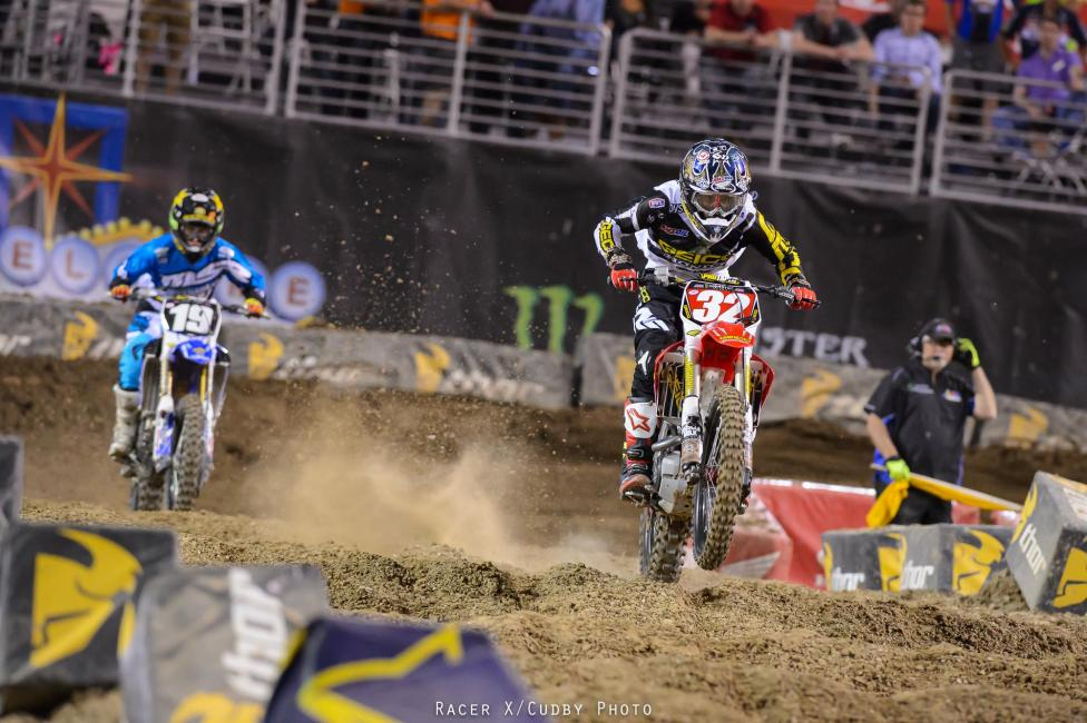 In 250 East, the title was already GEICO Honda's Justin Bogle's (essentially) and for good measure he grabbed the holeshot in the main. But Yamalube Star Racing Yamaha's Jeremy Martin was determined to grab his first career win, and stalked Bogle throughout.Photo: Cudby