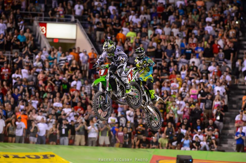 In the 450SX main, two Monster Energy Kawasaki's raced into the building first, Jake Weimer followed by Ryan Villopoto. Soon Villopoto knifed inside and you know what was coming next….RV led all 20 laps. That's 80-straight laps led to end the season!Photo: Cudby