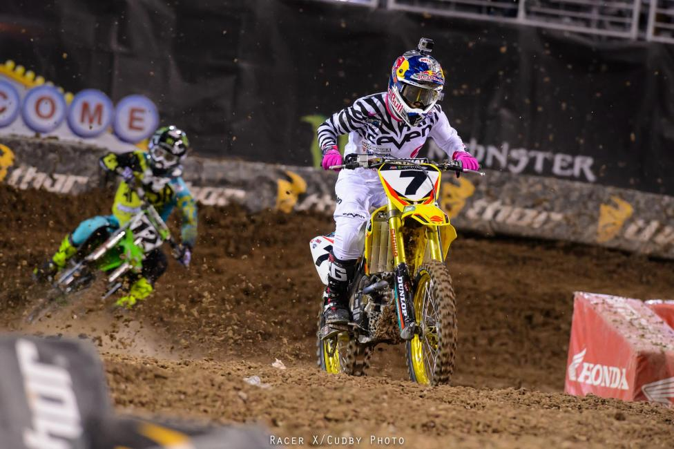 James Stewart ran into apparent front fork problems early in the 450 main event and had to pull off the track.Photo: Cudby