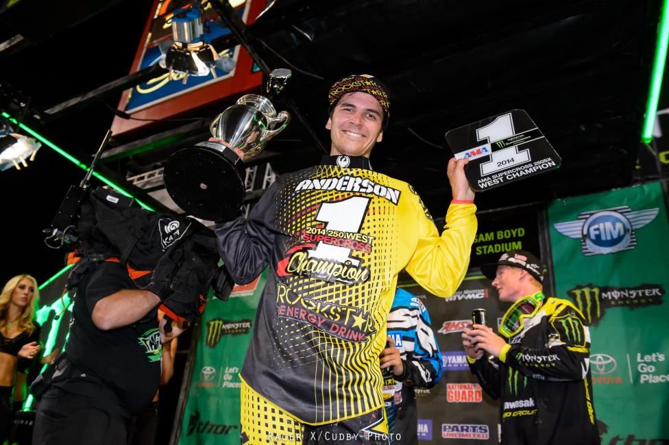 Jason Anderson clinched the 250SX West Region on Saturday.  Photo: Simon Cudby