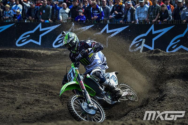 Moto1 winner Gautier Paulin suffered a broken right collarbone and left thumb in Moto2.  Photo: MXGP
