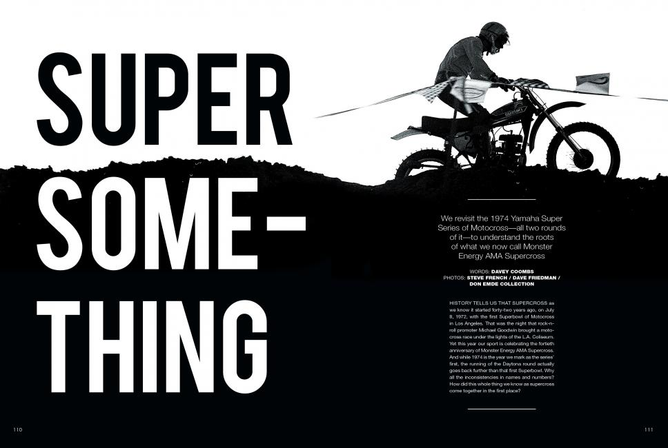 The opening spread to Super Something in the June issue of Racer X.