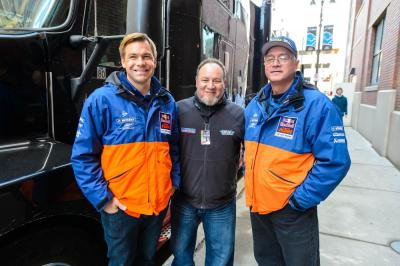 KTM bossmen Jon-Erik Burleson and Robert Pierce with Parts Unlimited's Rob Buydos.