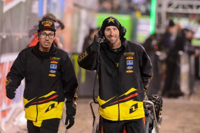 (left) Jedidiah Rodriguez, Davi Millsaps' practice mechanic and Cole Thompson's mechanic when he filled in for Joey Savatgy (right) Steve