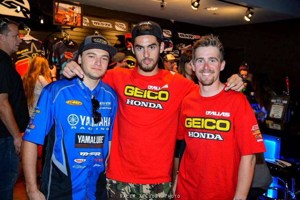 From left: 2014 SX Rookie of the Year Cooper Webb, 2014 250SX East Region Champion Justin Bogle and 2013 250SX East Region Champion Wil Hahn.  Photo: Simon Cudby