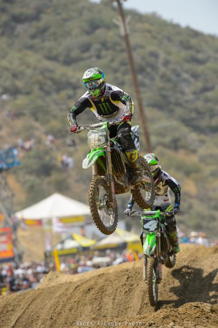 Dean Wilson and Blake Baggett were going at it like it was 2011, only they weren't battling for the win.Photo: Cudby