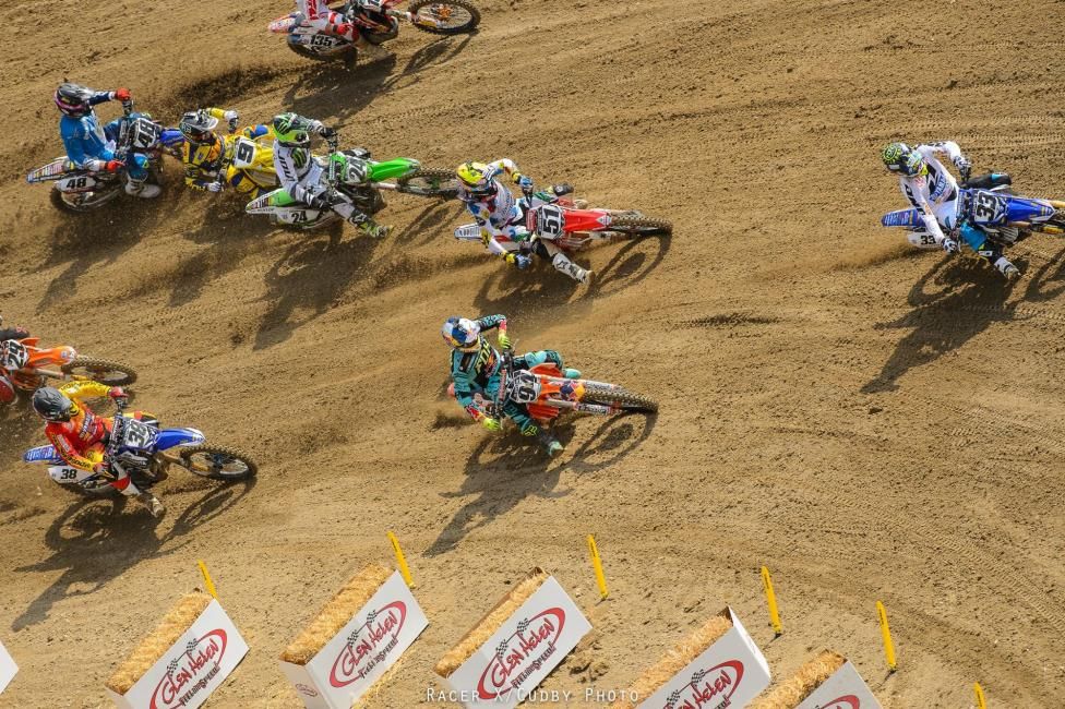 Grant nailed the holeshot in the first 450 moto of the year.Photo: Cudby