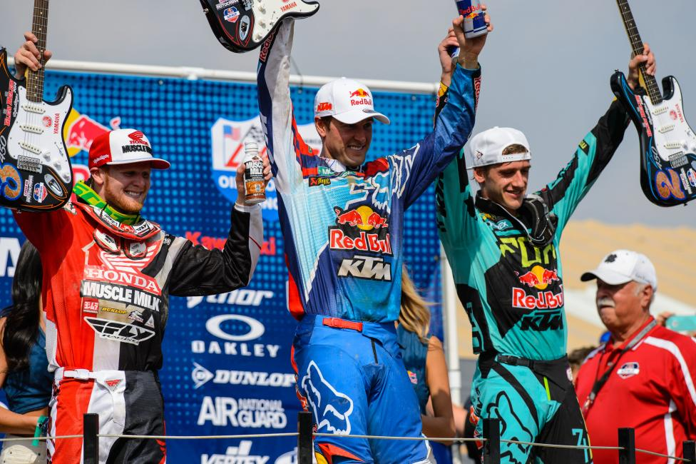 Ryan Dungey outlasted Ken Roczen (right) to win the opener.