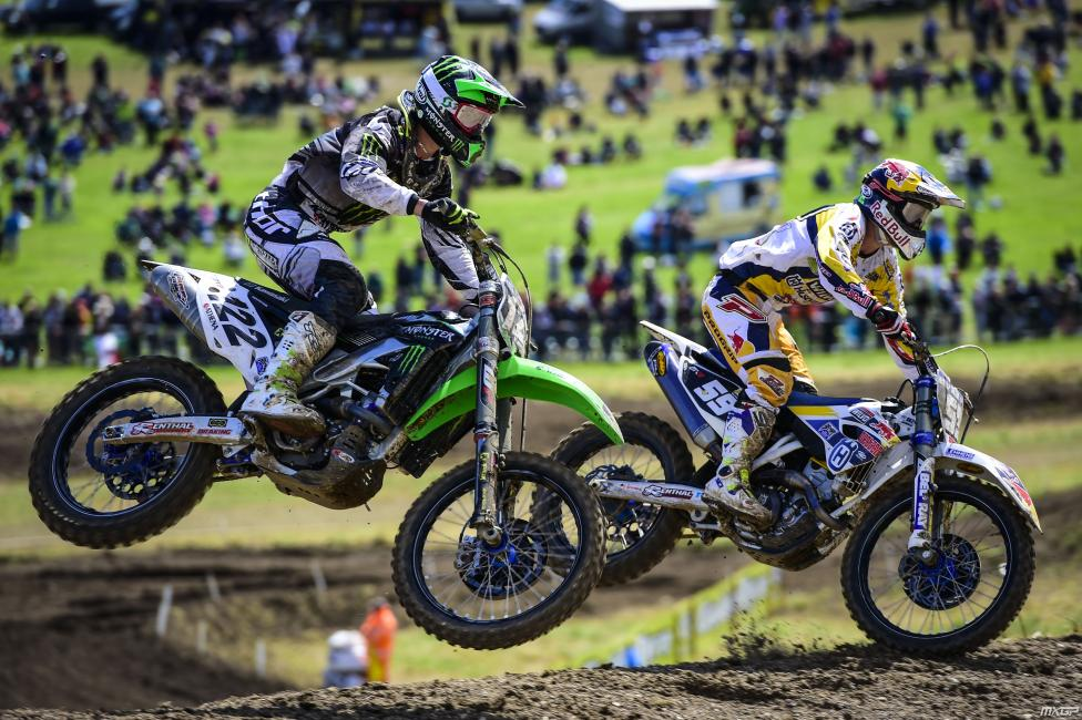 Arnaud Tonus (122) finished second behind Herlings in MX2.  Photo: MXGP