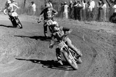 Not sure who the man leading is, but following are Montesa factory rider Peter Lamppuu (10) and the Suzuki factory rider Rich Thorwaldson (3), both of whom have since passed.