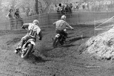 CZ rider Tony DiStefano leads Bultaco's ace Bryar Holcomb, who is still at work today at Factory Effex!