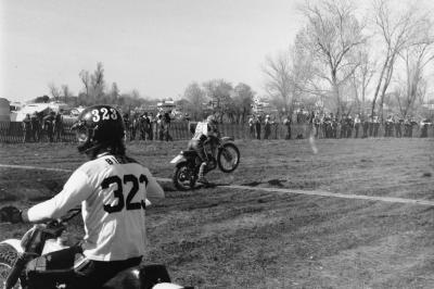 That's Bryar Holcomb practicing starts on his Bultaco. He would finish fifth overall in the 500 class.
