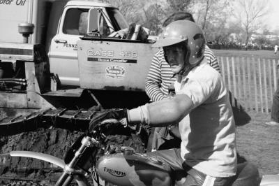 A man truly born before his time, the great Dick Mann showed up on a Triumph!