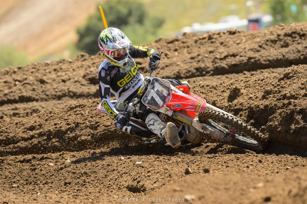 Zach Bell rode a controlled race and made it through unscathed for eighth overall. He was fifth in the first moto.