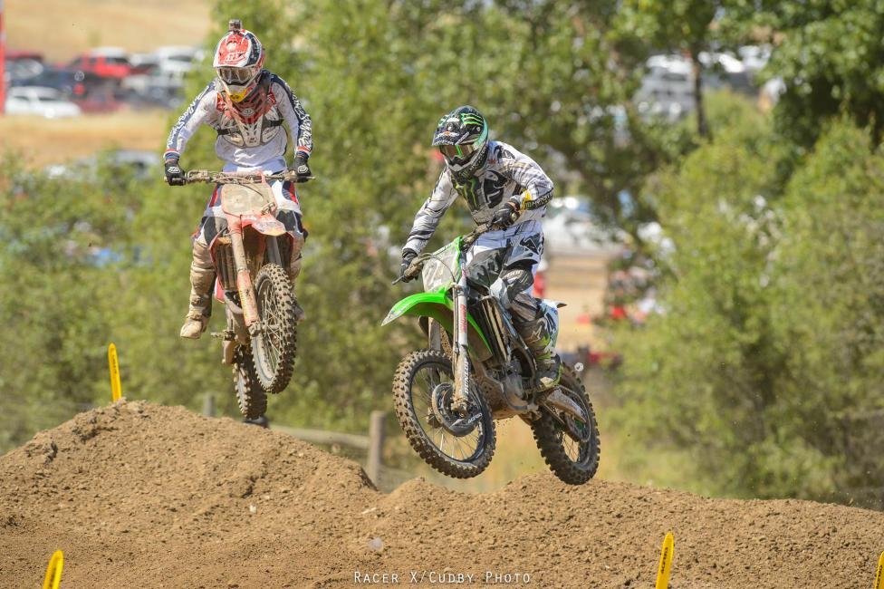 Malcolm Stewart got together with Brett Metcalfe, which resulted in a broken header pipe for Stewart.Photo: Cudby