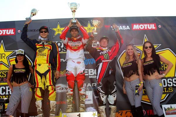 From left: Facciotti, Alessi and Hill on the MX1 podium in Canada.  Photo: Directmotocross