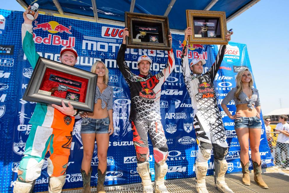 From left: Canard, Roczen and Dungey would capture podium spots in 450 Class. Photo: Simon Cudby