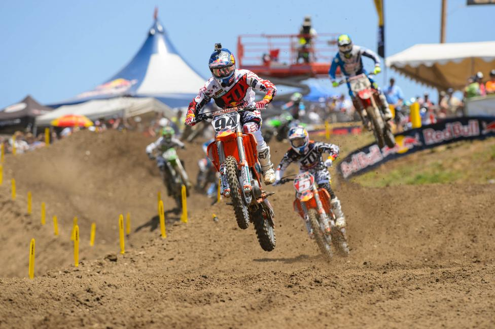 Just two races into his 450 career outdoors, Ken Roczen holds the points lead.  Photo: Simon Cudby