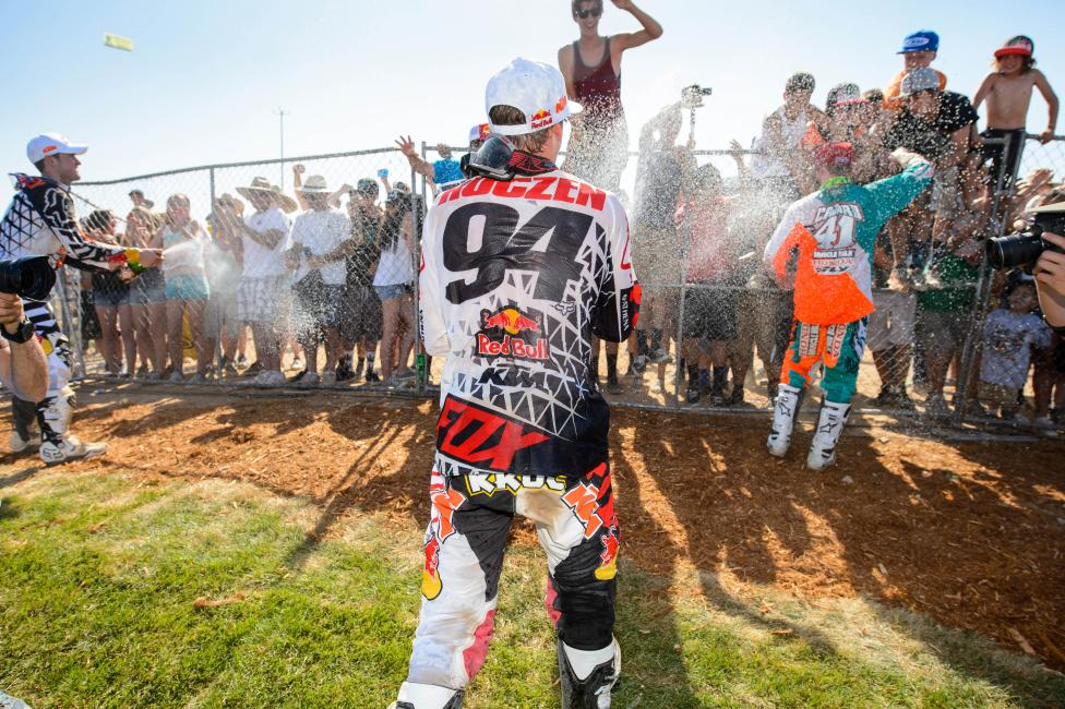 Roczen celebrates his first career 450 overall. Photo: Simon Cudby