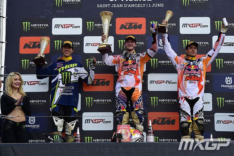 Tonus (left) and Jordi Tixier completed the MX2 podium.  Photo: MXGP