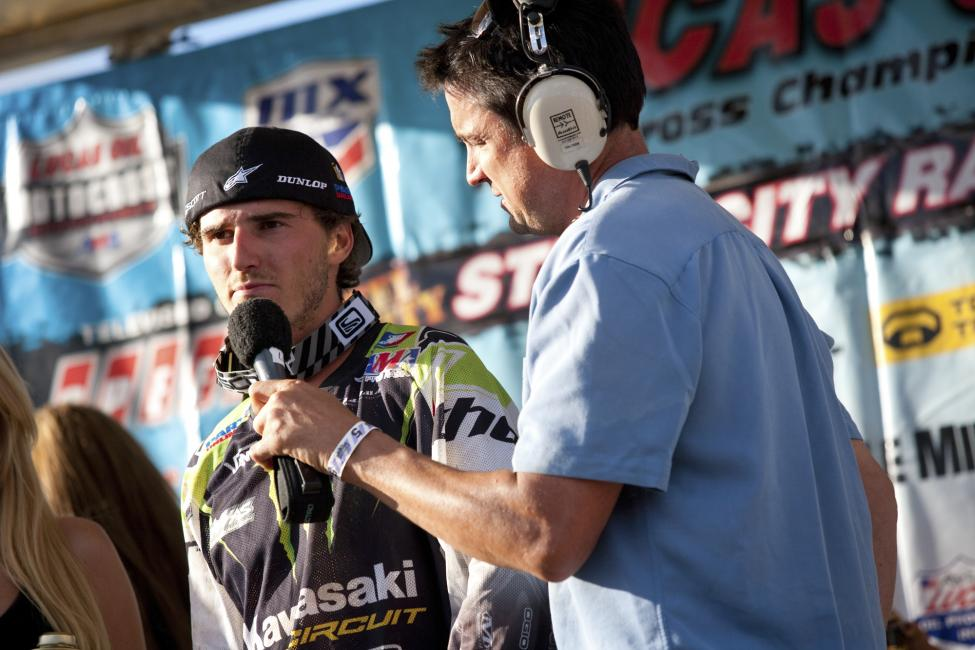 Flashback: Christophe Pourcel's last podium appearance before last Saturday at Hangtown.  Photo: Simon Cudby