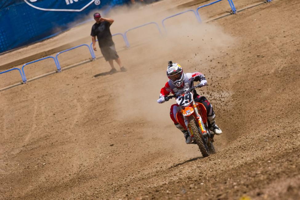 Andrew Short powering off the start at Thunder Valley press day.  Photo: John Hanson