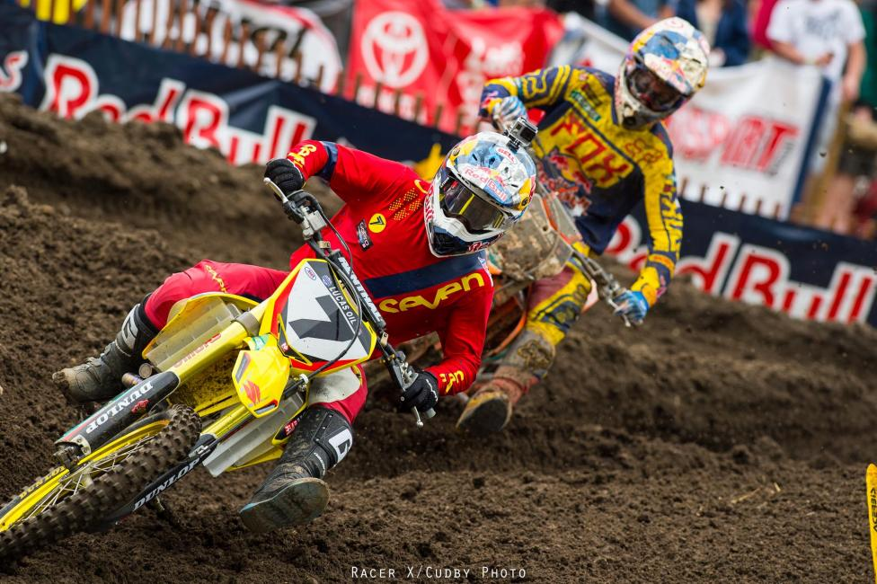 It was this tight for much of the first 450 moto.Photo: Cudby