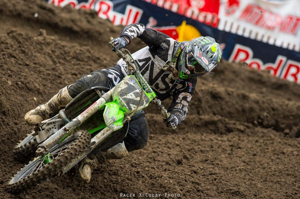 Monster Energy Kawasaki's Jake Weimer was fast today, but a crash in the second moto while battling with Brett Metcalfe and Josh Grant knocked him back to twelfth in the moto and tenth overall.Photo: Cudby