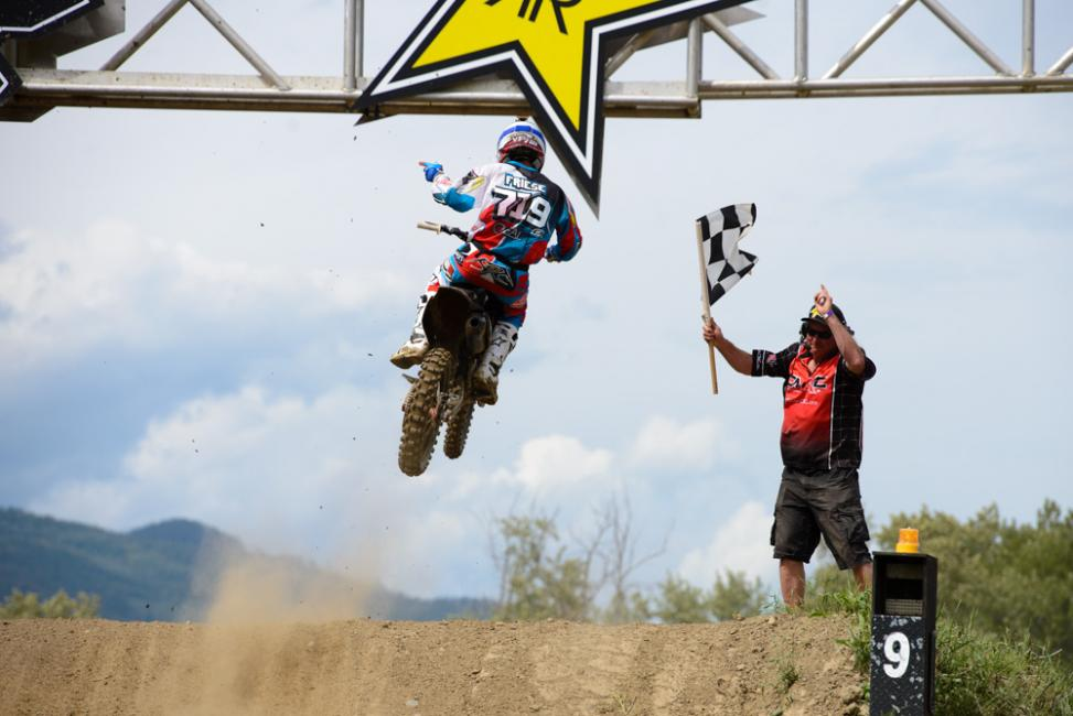 Vince Friese went 1-1 for the MX2 overall in Canada.