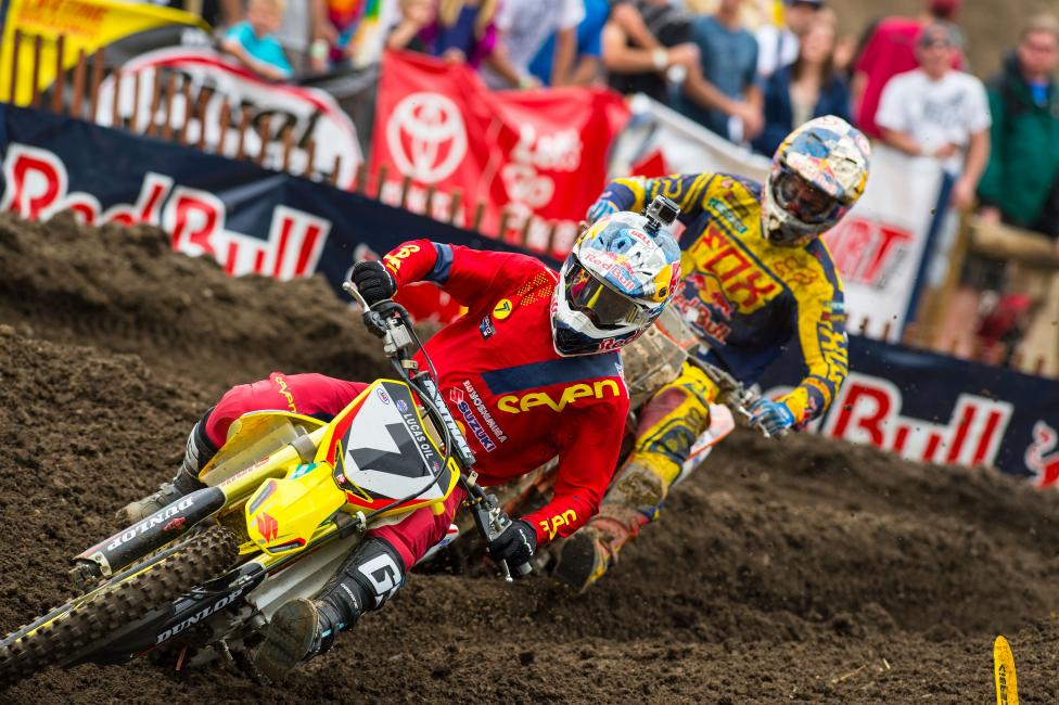 James Stewart (7) held off Ryan Dungey and Ken Roczen in the first moto to capture his first moto win of the season.  Photo: Simon Cudby