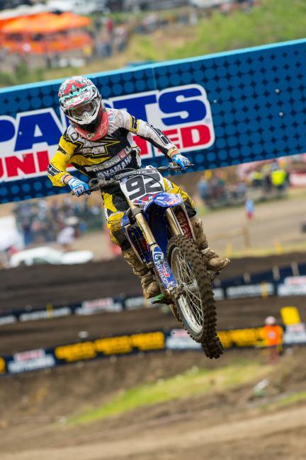 Thanks to three top fifteens through six motos, Rusk is currently 18th in 450 Class points.  Photo: photographer