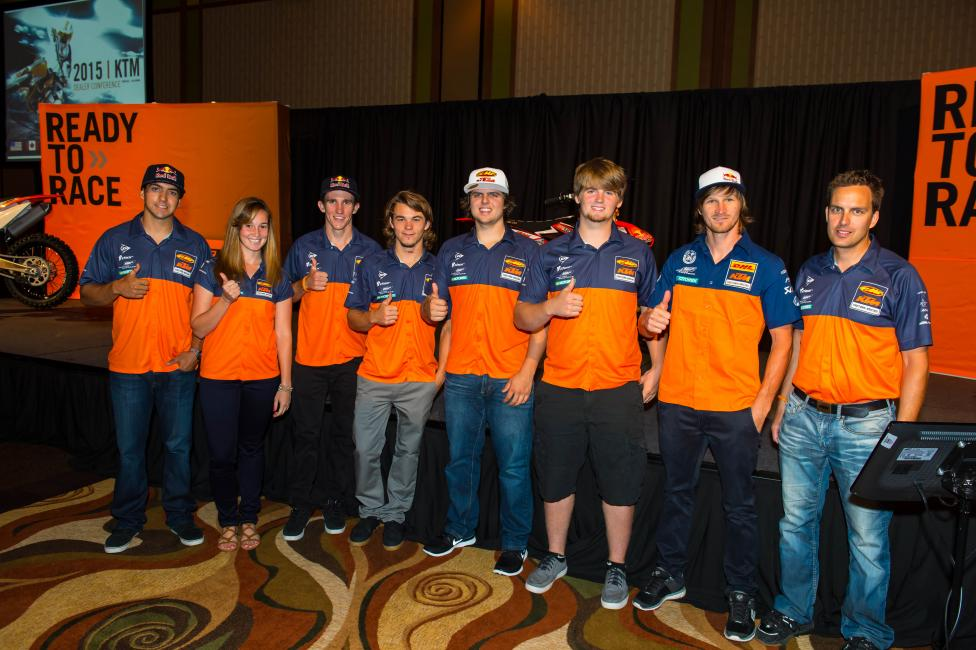 The factory off-road team, (L-R) Ramirez, Martinez, Robert, Russell, BaylorX2, Taddy and Team Manager Antti Kallonen